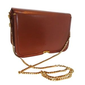 JUDITH LEIBER Gold Plated Chain Boxy Shoulder Bag